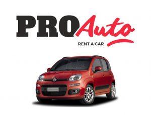 Logotipo Proautorentacar con un coche rojo sobre fondo blanco