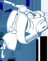 moto dibujada en color azul