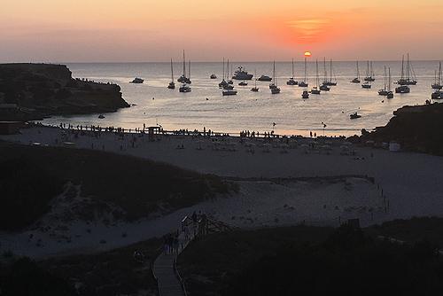 Puesta de sol en Cala Saona, Formentera
