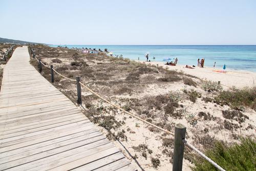 playa migjorn formentera con pasarelas de madera